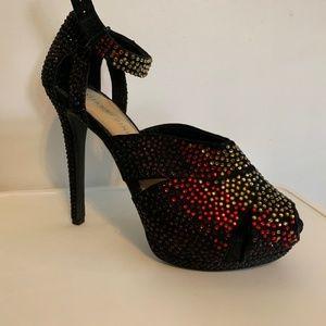Jeweled Black Heels